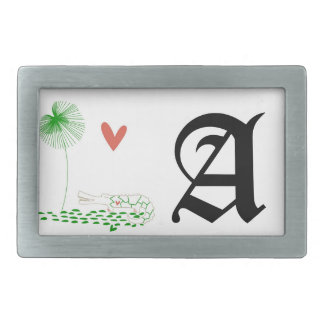 Minimalist Crocodile with heart and green flower. Rectangular Belt Buckle