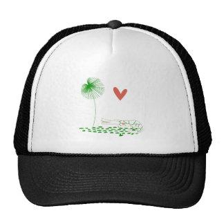 Minimalist Crocodile with heart and green flower. Trucker Hat
