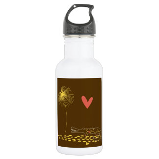 Minimalist Crocodile with heart and yellow flower. 18oz Water Bottle