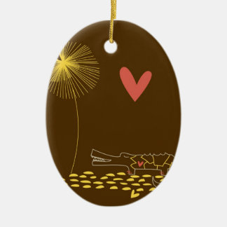 Minimalist Crocodile with heart and yellow flower. Ceramic Ornament