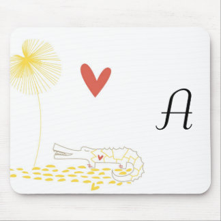 Minimalist Crocodile with heart and yellow flower. Mouse Pad