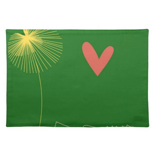 Minimalist Crocodile with heart and yellow flower. Placemats