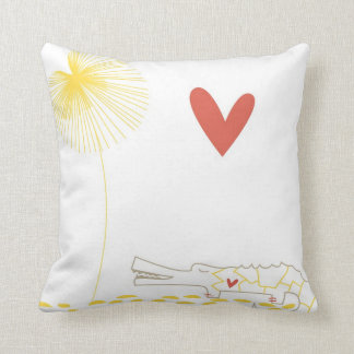 Minimalist Crocodile with heart and yellow flower. Throw Pillow