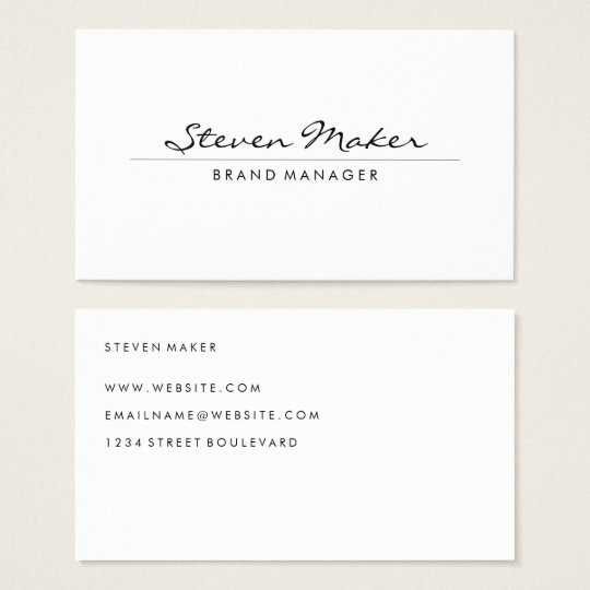 Minimalist cursive font business card zazzlecom for What size font for business card