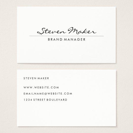 Minimalist cursive font business card zazzle minimalist cursive font business card reheart Gallery