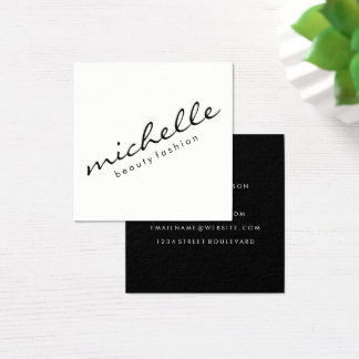 Minimalist Cursive Text Square Business Card