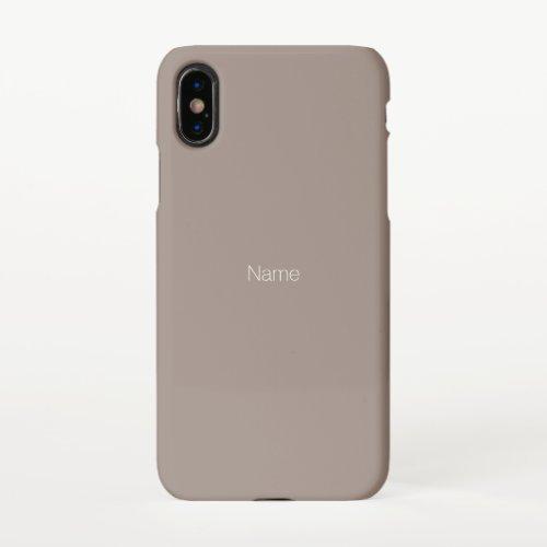 Minimalist custom name monogram greige, beige iPhone x case