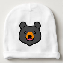 Minimalist Cute Black Bear Cartoon Baby Beanie