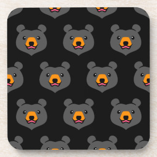 Minimalist Cute Black Bear Cartoon Coaster
