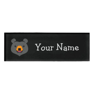 Minimalist Cute Black Bear Cartoon Name Tag