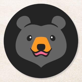 Minimalist Cute Black Bear Cartoon Round Paper Coaster