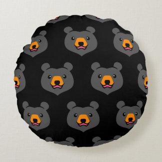 Minimalist Cute Black Bear Cartoon Round Pillow