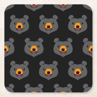 Minimalist Cute Black Bear Cartoon Square Paper Coaster