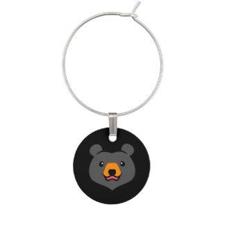 Minimalist Cute Black Bear Cartoon Wine Glass Charms