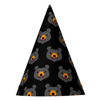 Minimalist Cute Cartoon Black Bear Party Hat