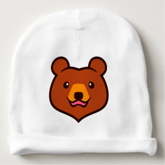 Minimalist Cute Cartoon Grizzly / Brown Bear Face Baby Beanie