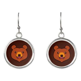 Minimalist Cute Cartoon Grizzly / Brown Bear Face Earrings