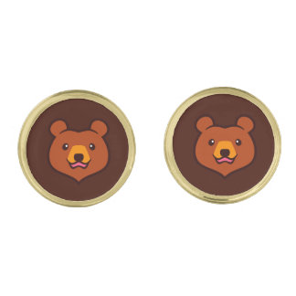Minimalist Cute Cartoon Grizzly / Brown Bear Face Gold Cufflinks