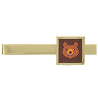 Minimalist Cute Cartoon Grizzly / Brown Bear Face Gold Finish Tie Clip