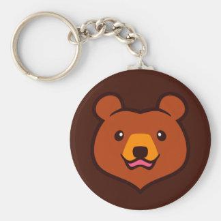 Minimalist Cute Cartoon Grizzly / Brown Bear Face Keychain