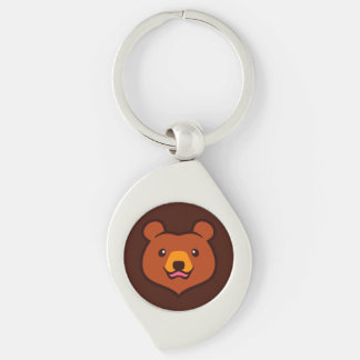Minimalist Cute Cartoon Grizzly / Brown Bear Face Silver-Colored Swirl Metal Keychain
