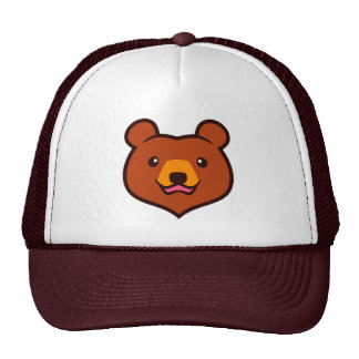 Minimalist Cute Cartoon Grizzly / Brown Bear Face Trucker Hat
