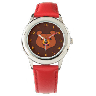 Minimalist Cute Cartoon Grizzly / Brown Bear Face Wrist Watch