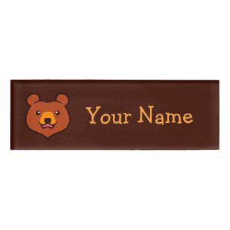 Minimalist Cute Grizzly / Brown Bear Cartoon Name Tag