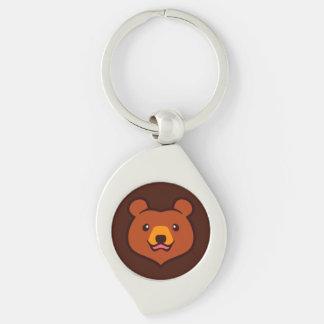 Minimalist Cute Grizzly / Brown Bear Cartoon Silver-Colored Swirl Metal Keychain