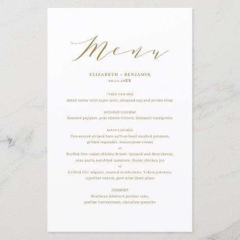 Minimalist Dainty Script Gold Wedding Menu Card