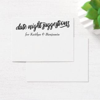 Minimalist Date Night Suggestions Newlywed Cards