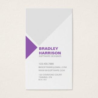 Minimalist Diagonal Square Pattern - Purple Business Card