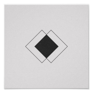 Minimalist Diamond Black and White Poster