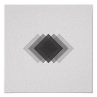 Minimalist Diamonds Black and White Poster