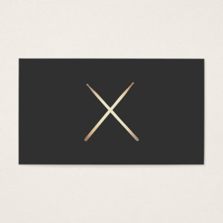 Minimalist Drummer Gold Drumsticks Black Business Card