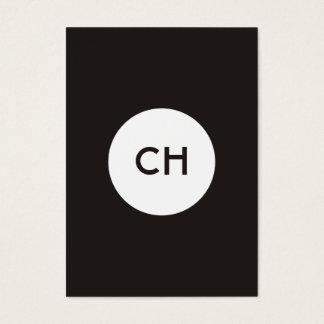 Minimalist Elegant Black White Circle Monogram Business Card