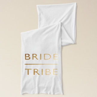 minimalist elegant bride tribe faux gold text scarf