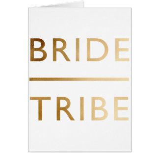minimalist elegant bride tribe gold foil text card