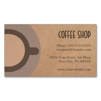 Minimalist Elegant Brown Coffee Shop Business Card Magnet