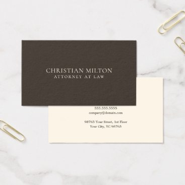 Lawyer Themed Minimalist Elegant Brown Old White Attorney at Law Business Card