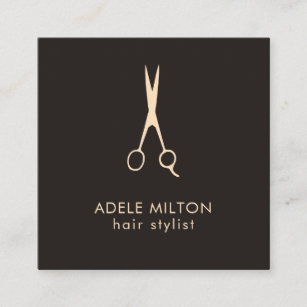 Hairstylist business cards templates zazzle minimalist elegant dark rose scissor hairstylist square business card colourmoves