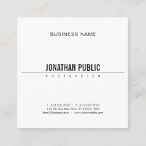 Minimalist Elegant Design Modern BW Smart Plain Square Business Card
