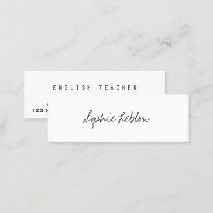 minimalist elegant english teacher mini business card