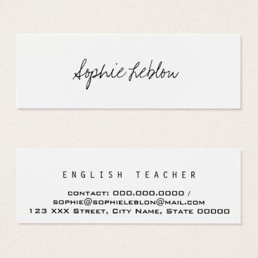 mixedworld minimalist elegant english teacher mini business card