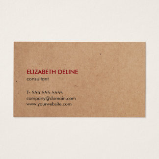 Minimalist Elegant Kraft Paper Consultant Business Card