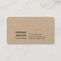 Minimalist Elegant Kraft Paper Consultant Business Card