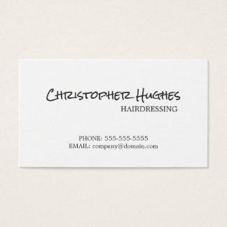 Minimalist Elegant Plain White Hairdresser Business Card