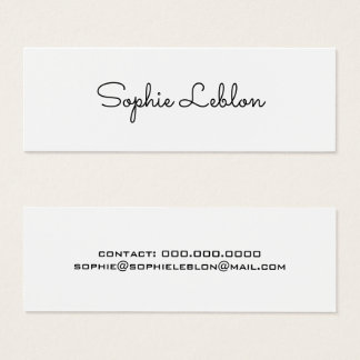First impression business cards templates zazzle minimalist elegant simple plain white mini business card reheart Gallery