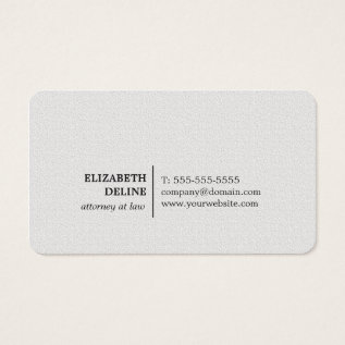 Minimalist Elegant Texture White Attorney At Law Business Card at Zazzle