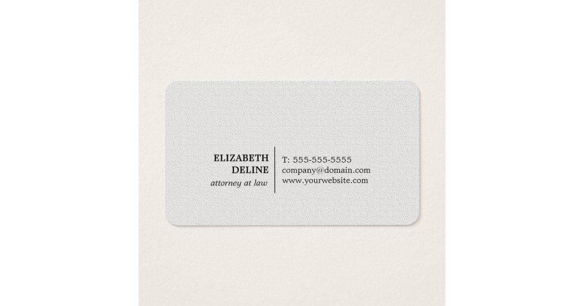 Minimalist Elegant Texture White Attorney at law Business Card ...